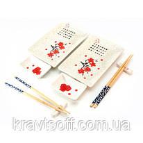 "Сервиз для суши ""Белый с цветами сакуры"" (2 персоны) (28х28,3х3,5 см) (23680)"