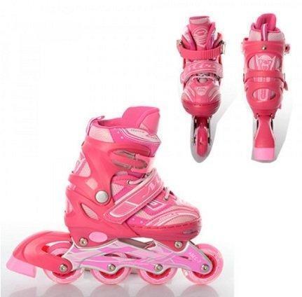 Ролики для девочки A7084-M, 35-38 размер, свет раздв, алюм.рама, колесаПУ70мм, подшва ABEC-9 Розовые