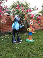 """Садовая фигура Волк с зайцем """"Ну погоди"""". садово-парковые сказочные персонажи."""