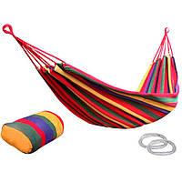 Гамак подвесной до 150 кг с креплениями для дачи и туризма качественная ткань 195*80cm + рюкзак до 150 кг Красный олх