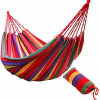Гамак садовый подвесной для дома и дачи тканевый до 150 кг с рюкзачком по акции со скидкой Красный