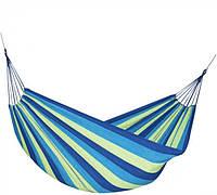 Гамак тканевый подвесной для дома дачи и туризма плотный хлопок с рюкзачком со скидкой акция Синий с голубым