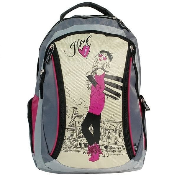 Рюкзак Girl сірий/пісочний/рожевий