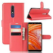 Чехол IETP для Nokia 3.1 Plus / TA-1104 книжка кожа PU красный