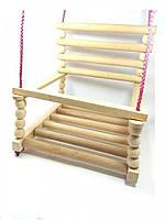 Гойдалка дитяча дерев'яна Качели подвесные из дерева бук для дома и сада №4 30х30 качель качеля