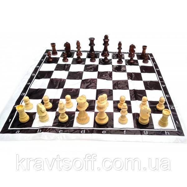 Шахматы дорожные в блистере с мягкой доской деревянные (h фигур 4-8.5 см ,d-2.5-3.5 см) (32548)