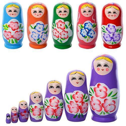 Деревянная игрушка Матрешка MD 1110 7шт, микс цветов, в кульке, 17-8-8см