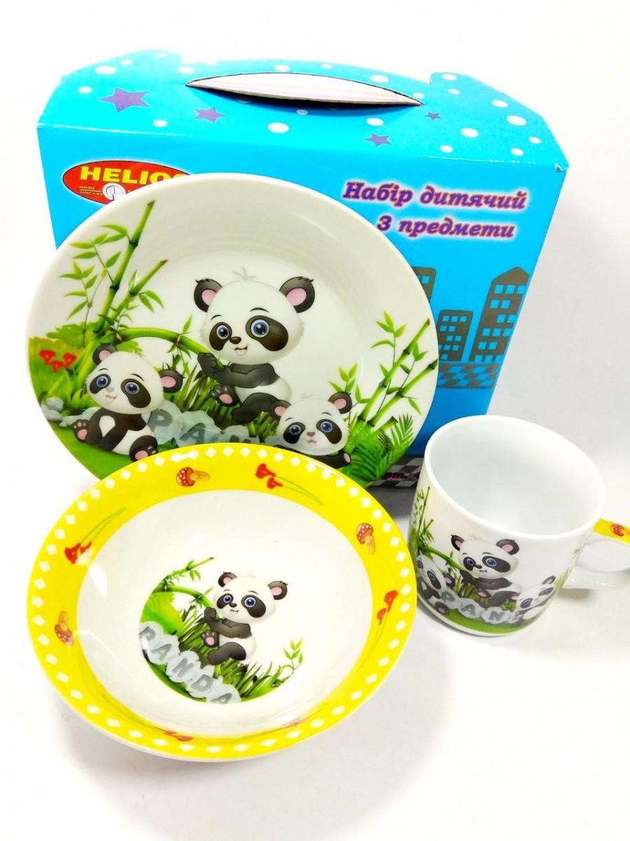 """Детский набор Helios 3 предмета (тарелка 7"""", салатник 6"""", кружка 320мл) ДР4305 керамика в ассортименте"""