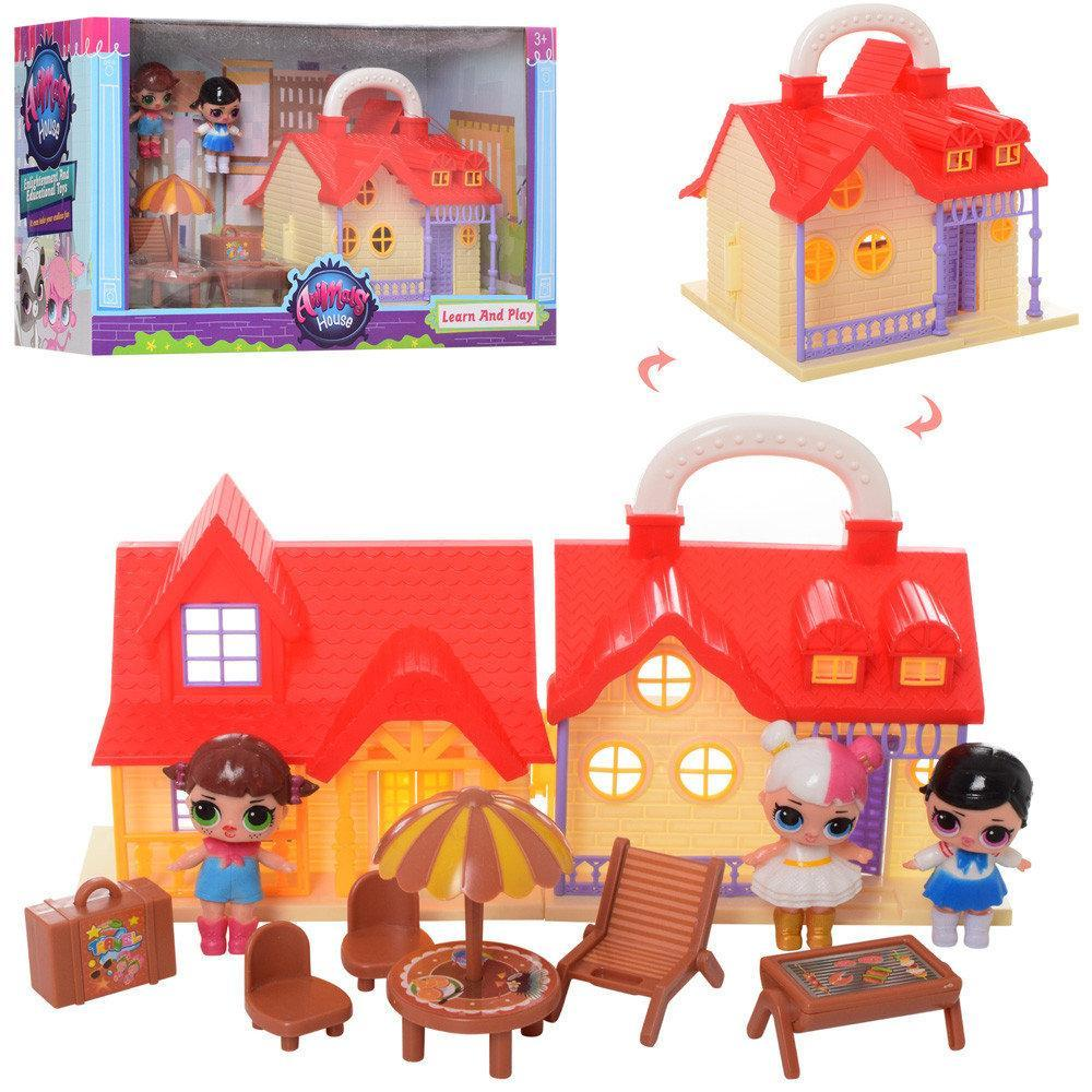 Домик TM629B LOL, 17-16-14,5см, мебель, кукла 7,5см 3шт, в коробке, 39,5-22,5-16,5см