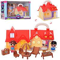 Домик TM629B LOL, 17-16-14,5см, мебель, кукла 7,5см 3шт, в коробке, 39,5-22,5-16,5см, фото 1