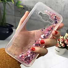 Чехол Glitter для Samsung Galaxy J5 2016 / J510 Бампер Жидкий блеск сердце розовый