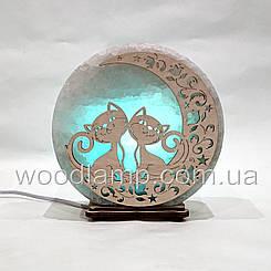 Соляная лампа круглая Коты на луне 2
