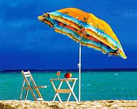 Зонт пляжный торговый садовый диаметр 1,8 метра с наклоном и серебрением и клапаном спица металл 081-1, фото 1