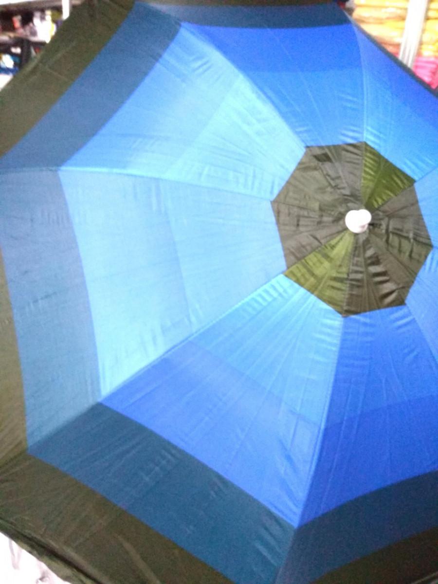 Зонт пляжный торговый садовый диаметр 2 метра с серебрением спица металлическая D2.0m 085 синий с голубым