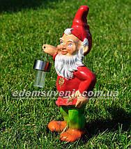 Садовая фигура Гном с фонарем малый керамический, фото 2