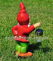 Садовая фигура Гном с фонарем малый керамический, фото 3
