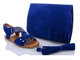 Босоножки женские на танкетке синие со стразами, сумка в подарок