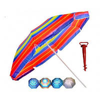 Зонт торгово пляжный солнцезащитный диам 1,8м Серебрение наклон 0081Р/2бк, фото 1