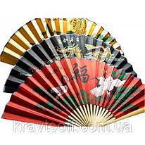 Веер бамбук с шелком в ассортименте (50 см в развороте 85х50см) (24235)