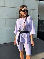 Костюм женский модный  футболка оверсайз с поясом и велосипедки, фото 1