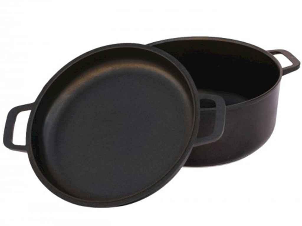 Кастрюля антипригарное покрытие 2,0л h=141мм d=20см с крышкой-сковородкой, утолщенное дно Биол К202П