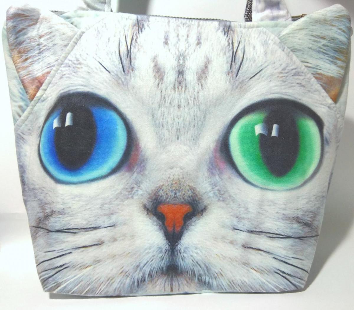 Сумка плюшева Кіт, 29х38 см 3D с принтом животных S-2534 Перс