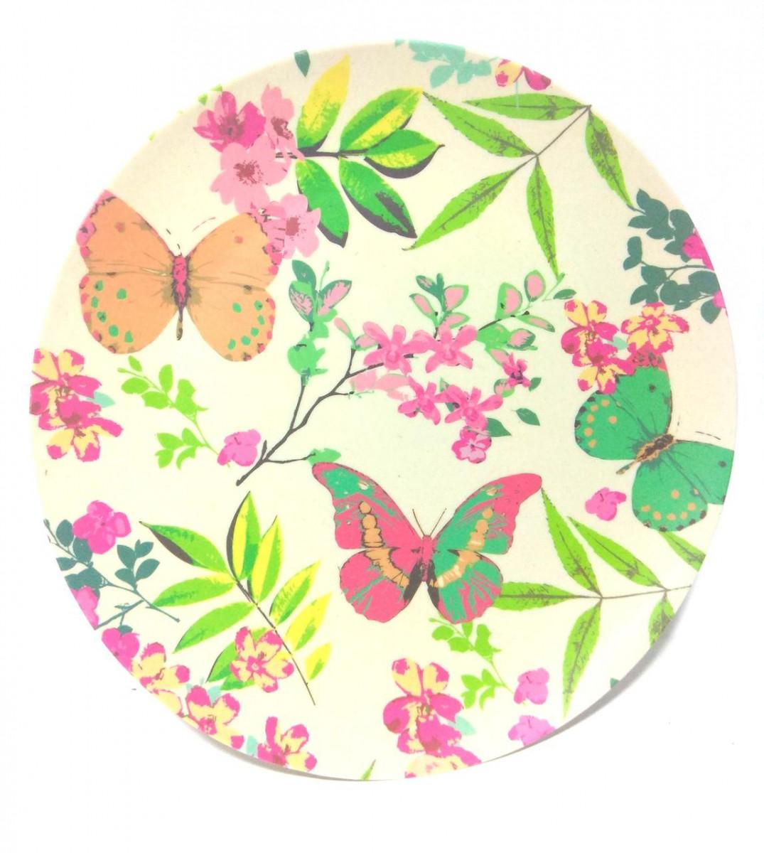 """Тарелка бамбуковая """"Бабочки"""" R21333, размер 25см, эко - тарелка, тарелка из бамбука"""