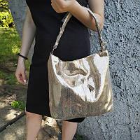 """Женская кожаная сумка с лазерным напылением золотая  """"Лазерка Gold"""", фото 1"""