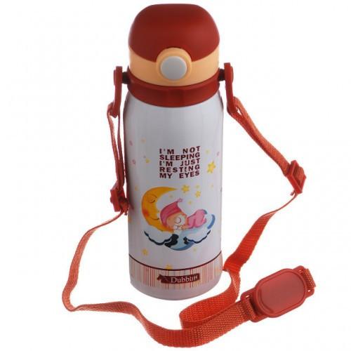 Термос детский вакуумный с трубочкой ремешком нержавейка 450мл NEW A-PLUS 1624 акция