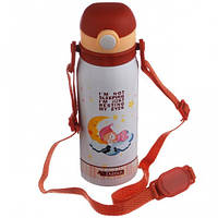 Термос детский вакуумный с трубочкой ремешком нержавейка 450мл NEW A-PLUS 1624 акция, фото 1
