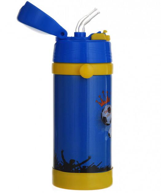 Термос детский металлически с трубочкой на ремешке поильник для чая 320мл А-Плюс 1776 Синий футбол
