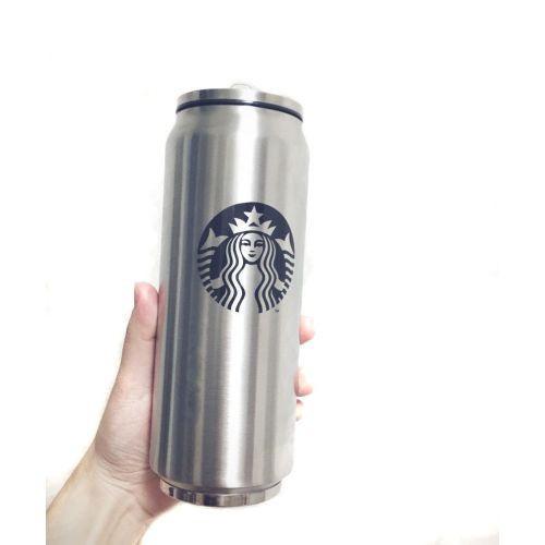 Термос тамблер термостакан Starbucks в форме жестяной банки 0,36л. Поильник с трубочкой в крышке
