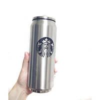 Термос тамблер термостакан Starbucks в форме жестяной банки 0,36л. Поильник с трубочкой в крышке, фото 1