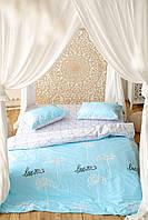 Комплект постельного белья Prestige Gold Love бело-голубой двуспальный SKL29-250675