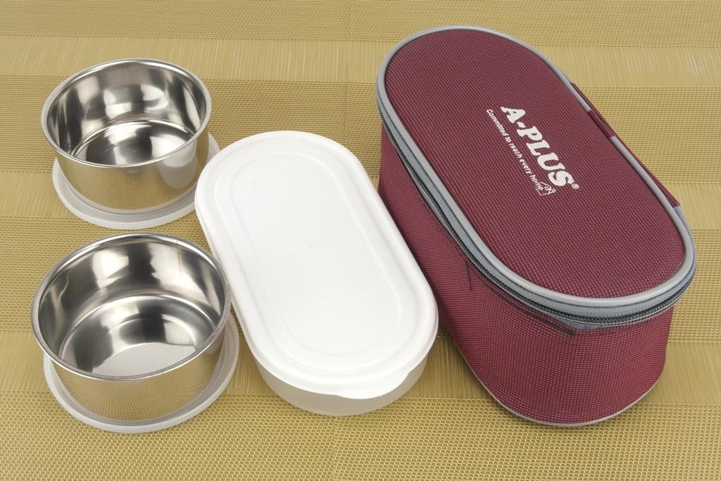 Ланч бокс нержавейка 3 шт. контейнеры для еды судочки (2шт нерж.+1шт.пластик) в термосумке 22см*9см