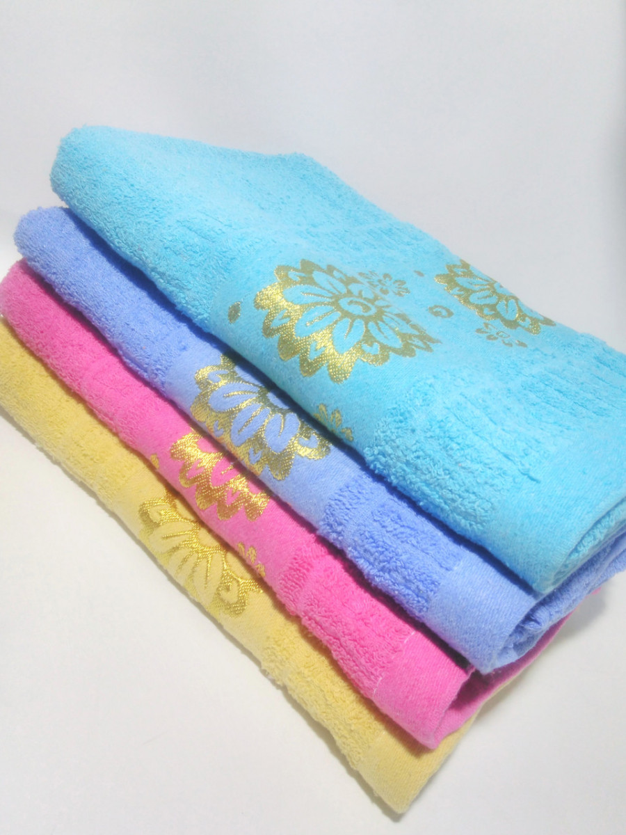 """Махровое банное полотенце """"Цветы"""" 135*70см"""