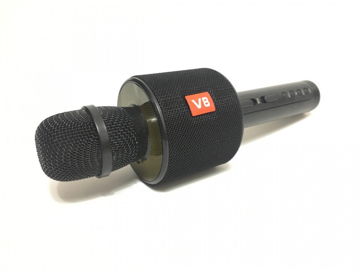 Микрофон караоке V8 bluetooth USB TF DM Karaoke колонка беспроводной 4705 в чехле