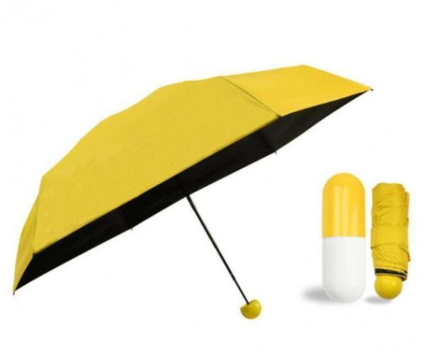 Мини зонт в капсуле футляре складной механический Capsule Umbrela mini Жёлтый