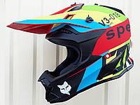 Кроссовый мото шлем Фокс V3 размер S 55-56, фото 1