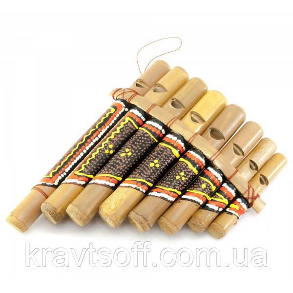 Флейта Пана расписная бамбук (15,5х12х3 см) (29997)