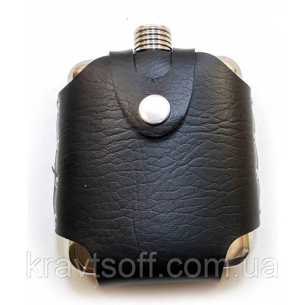 Фляга из нерж.стали в чехле на пояс (170 мл.(12х10х3,5 см) (32125)