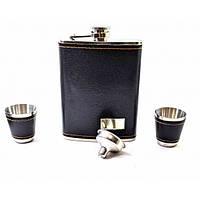 Фляга с рюмками и лейкой в подарочной упаковке черная (19х17х4 см) B (32851B)