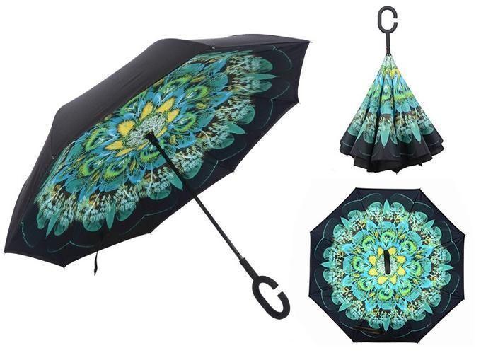 ✅Зонт обратного сложения полуавтомат умный смарт зонт д110см 8 спиц 8787 Зеленый