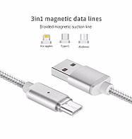 ✅Магнитный Шнур Data кабель для зарядки 3 in1 USB Micro + iPhone5/6 + Type C magnetic cable ткань, фото 1