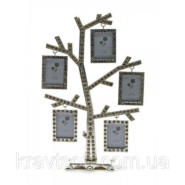 """Фоторамка со стразами """"Родовое дерево"""" (5 фото) (23,5х15х5,5 см) (25259)"""