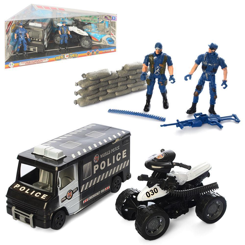 Набор спасателей 999B-4C полиция, машинка, квадроцикл, фигурки2шт,в кор-ке,40-20-14см