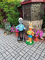 Садовая фигура Комплект волк с зайцем. садово-парковые сказочные персонажи.