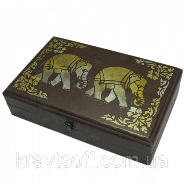 """Футляр для бокалов """"Слоны"""" массив дерева (31х20х7,5 см) (30680B)"""