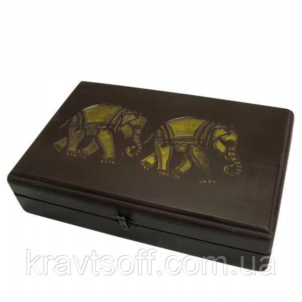 "Футляр для бокалов резной ""Слоны"" массив дерева (31х20х7,5 см) (30680D)"