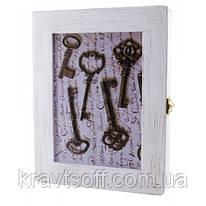 """Ключница """"Ключи"""" белая массив дерева (22,5х19,5х5,5 см.) (30621)"""